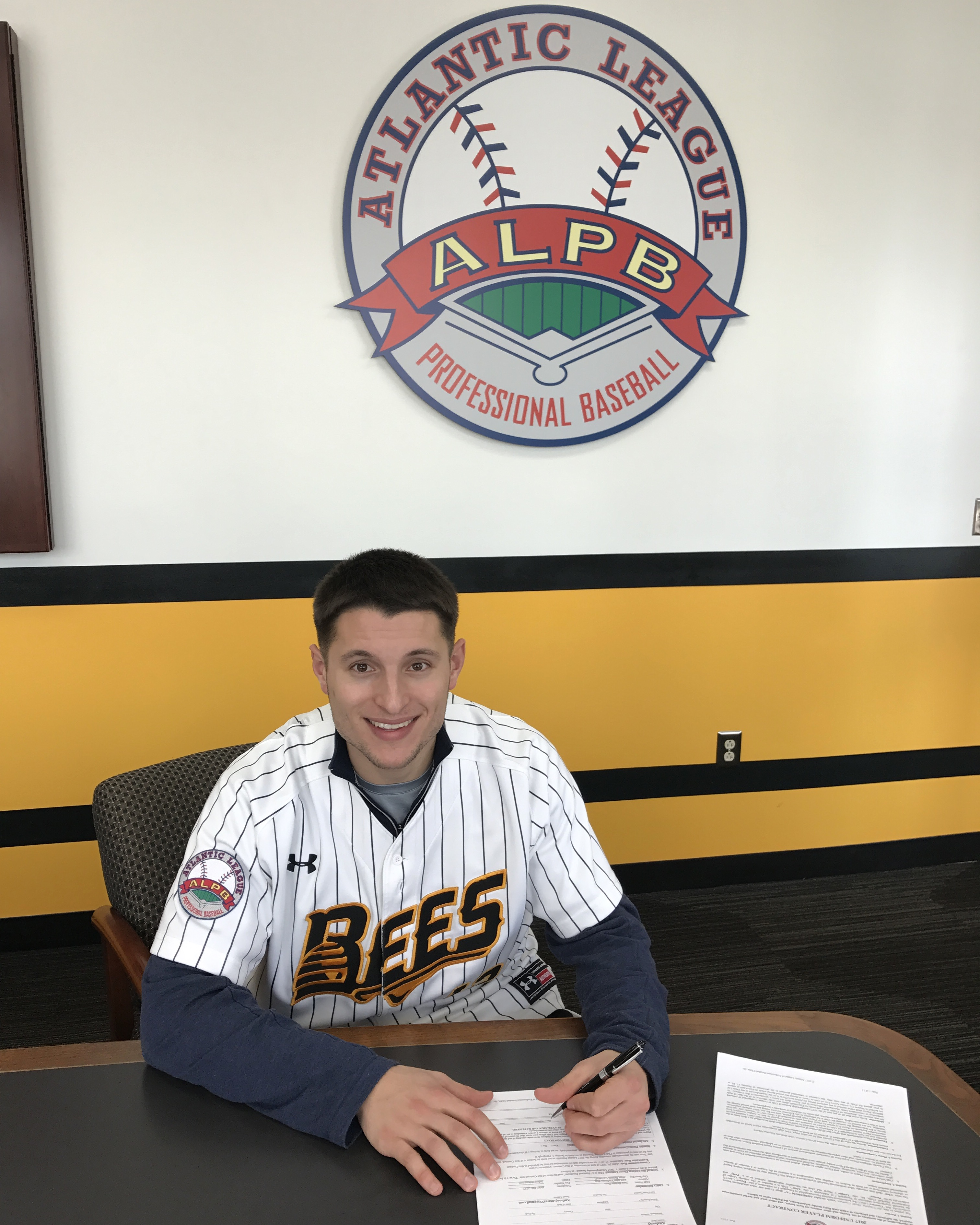 LHP Anthony Marzi Signs his 2017 Contract at New Britain Stadium on February 22, 2017